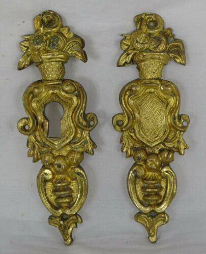 Antique French Bronze Furniture 2 Decoration Escutcheon Keyhole Cover 19th