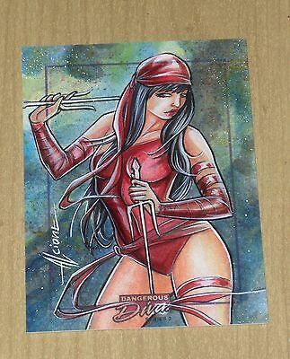 2014 Marvel Dangerous Divas series 2 color sketch card 1/1 Alcione Silva ELEKTRA