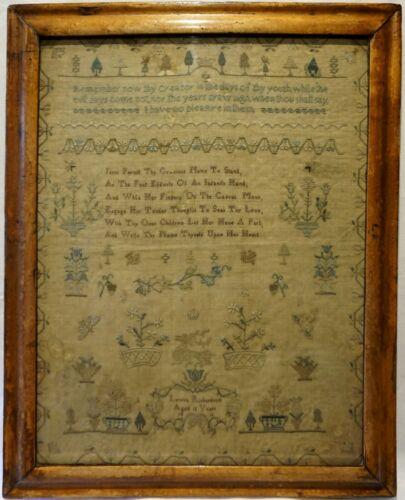 EARLY 19TH CENTURY MOTIF & VERSE SAMPLER BY LOUISA RICHARDSON AGED 12 - 1816