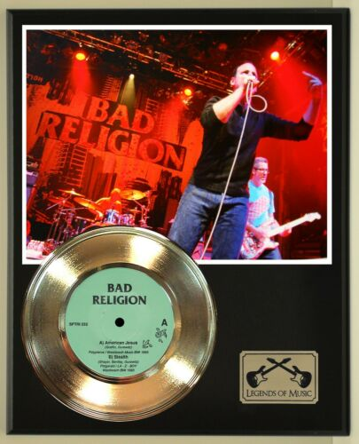 Bad Religion 45 Gold Plated Record Display on an Open Air Wood Plaque. 02