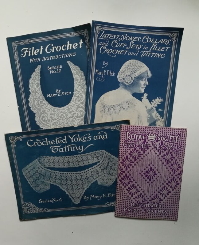Lot of 4 Vintage Crochet 1900s Lace Filet and Tatting instructions