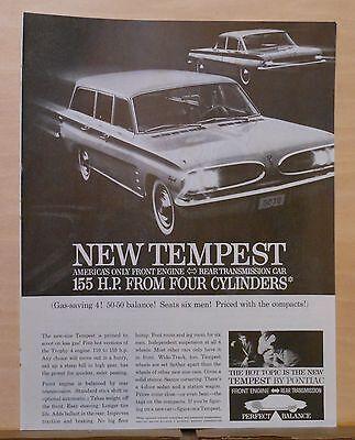1960 magazine ad for Pontiac - Tempest wagon, sedan - front engine - rear trans