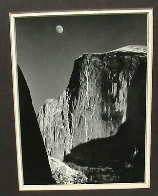 MOON AND HALF DOME BLACK AND WHITE  PHOTOGRAPHY BY ANSEL ADAMS  Moon Half Dome