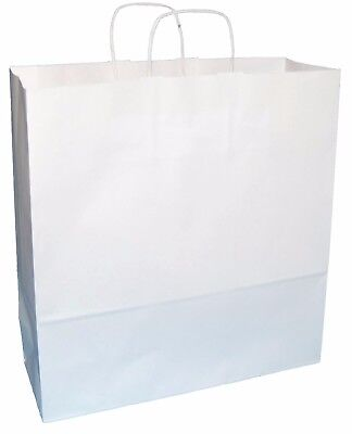 20 EXTRA LARGE WHITE KRAFT PAPER TWISTED HANDLE CARRIER BAGS 15