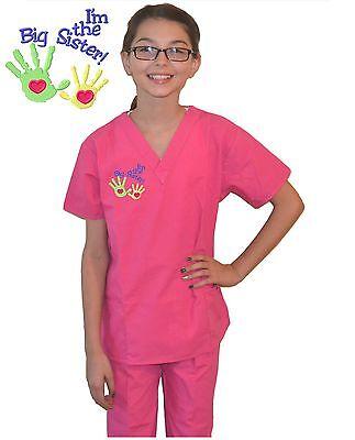 Kids Scrubs Big Sister Pink Expectant Mother Gift Doctor Nurse