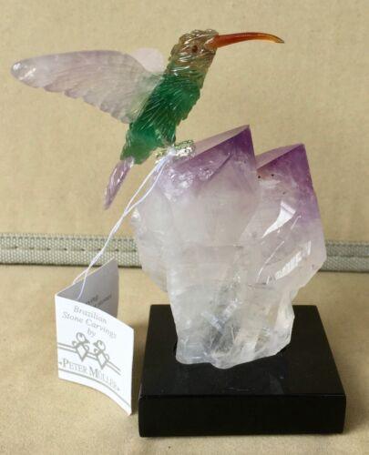 """Fluorite Hummingbird on Amethyst Crystal 5"""" -Peter Muller"""