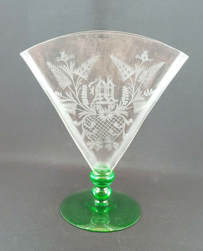 Carder Steuben Fan Vase Green Foot Engraved - Monogrammed