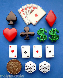 LADY LUCK Craft Novelty Buttons Casino Money Las Vegas Card Dice Dollar Hearts