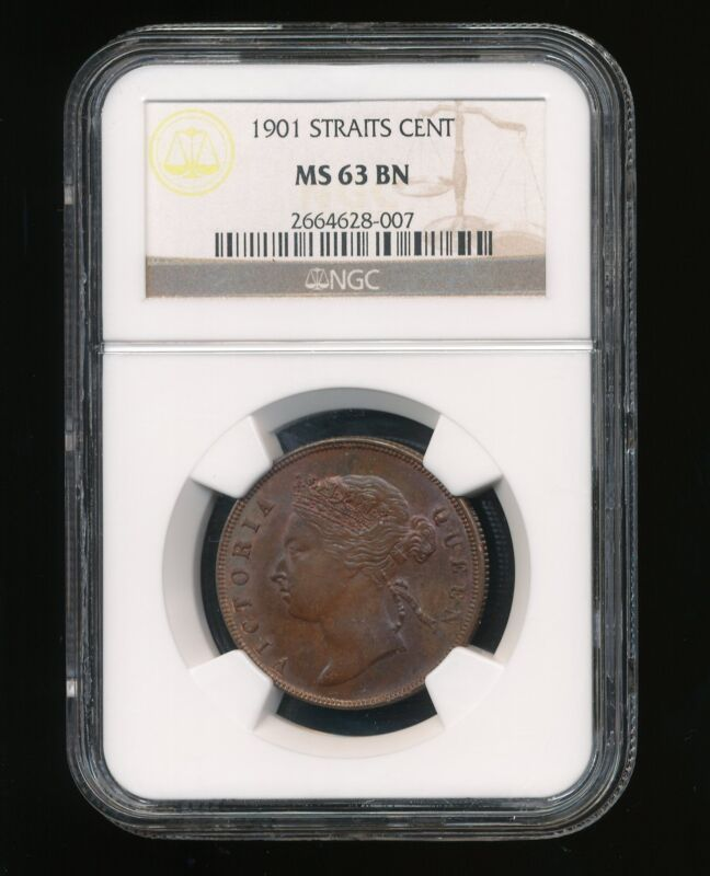 1901 Victoria One Cent 1C Straits Cent Settlements Maylasia NGC 63 Brown (BN)