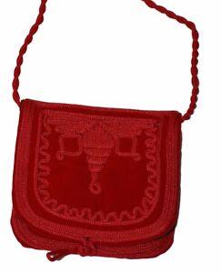 522e8ec61a Moroccan Handbag Purse Pouch Shoulder Bag Embroidery Handmade Suede SM Red
