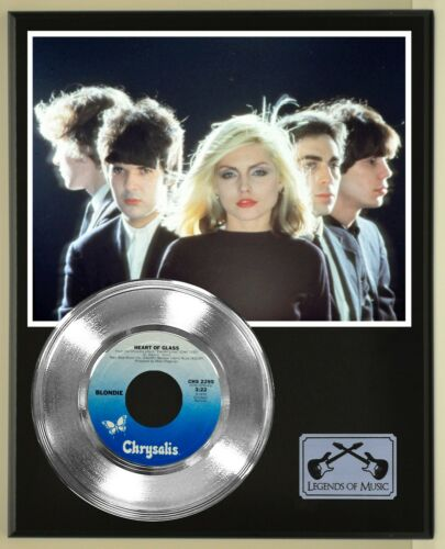 "Blondie ""Heart Of Glass"" Silver Record Display Wood Plaque"