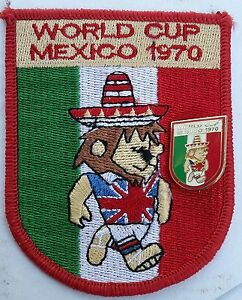 World Cup Willie 1970 Mexico Enamel Badge English Brooch Fixing & Woven Patch