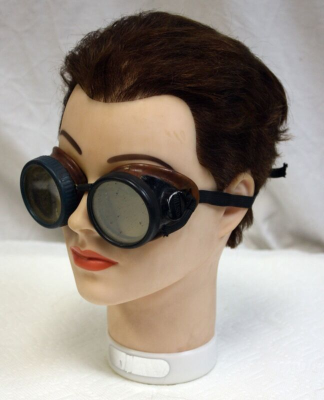Vintage Deco Wilson Catalin? Welding Goggles Steampunk Motorcycle Aviator