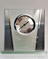 Desk/Shelf Clock, Danbury Brand, Round Brushed Silver Face. Glass Base.