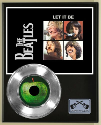Beatles 45 Platinum Plated Record Display on an Open Air Wood Plaque. 02
