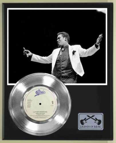 """Luther Vandross """"Here And Now"""" Silver Record Display Wood Plaque"""