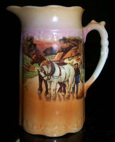 VICTORIAN JUG - ENGLISH FARM SCENE WITH HORSES . C 1900