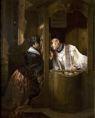 The Confession Catholic Painting Large 12.5