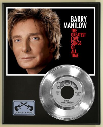 Barry Manilow 45 Platinum Plated Record Display on an Open Air Wood Plaque. 02