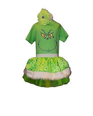XMAS Grinch Sparkle Festive Unisex Christmas Tutu Set Girls Baby 80s Fancy - Grinch Kostüm Baby