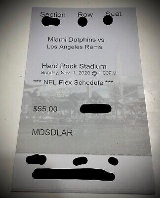 1-7 Dolphins vs Rams Hard Tickets Tagovailoa first Gm 11/01/20 (Miami Gardens)