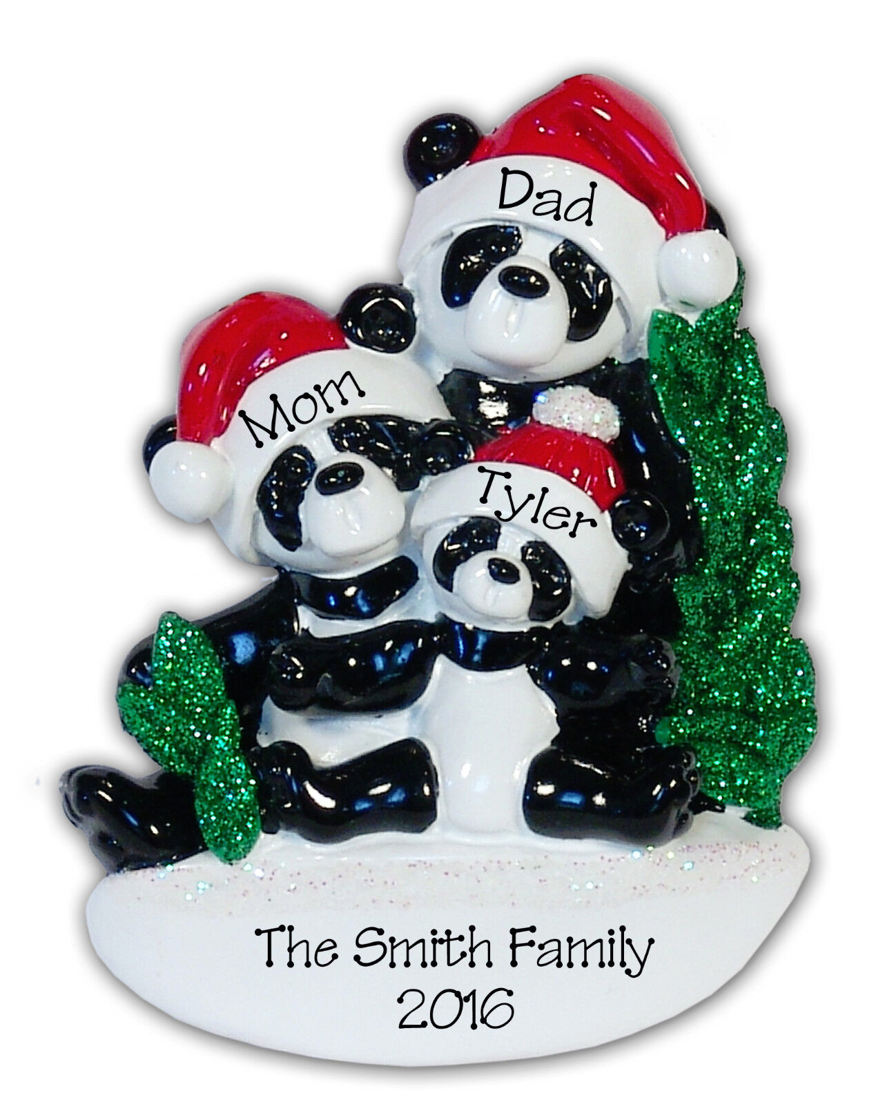PANDA BEAR FAMILY OF 3 Personalized Ornament HAND PAINTED RESIN Clay by Deb & Co