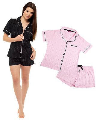 Womens Cotton Rich Pyjamas Polka Dot T Shirt + Shorts Button Lounge Set Size  ()