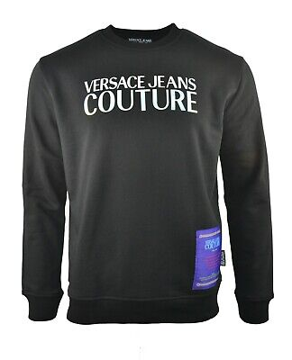 VERSACE JEANS COUTURE BLACK WITH SHINY METALLIC MIRROR LOGO SWEATSHIRT JUMPER