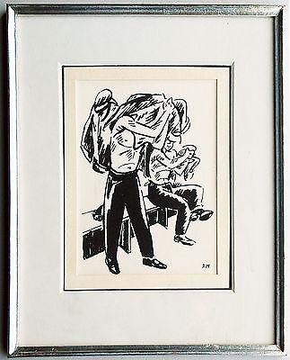 Frans MASEREEL: Arbeiter in der Umkleide Tuschezeichnung 1920er Jahre selten