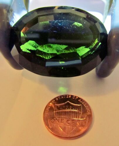 VERY LARGE 104 CARAT FACETED OVAL MOLDAVITE