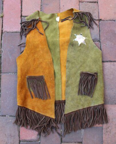 Vintage Boys Kids Western Cowboy Suede Leather Sheriff Vest & Badge Costume