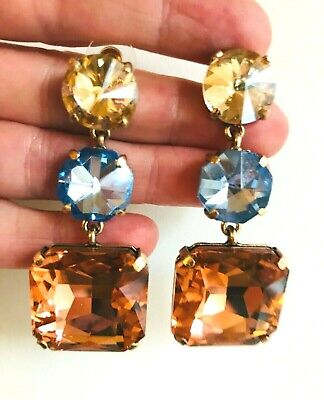 ZARA BEAUTIFUL FACETED GLASS BLUE TOPAZ  TONE GOLD EARRINGS
