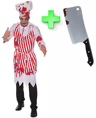 Bloody Evil Butcher Chef Mens Halloween Fancy Dress Costume Outfit with Cleaver