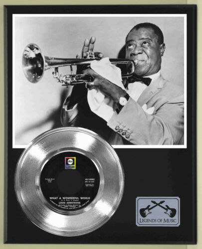 """Louis Armstrong """"What A Wonderful World"""" Silver Record Display Wood Plaque"""