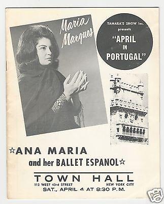 ANA MARIA & Her BALLET ESPANOL - MARIA MARQUEZ / Town Hall NYC Program 4-4-1964