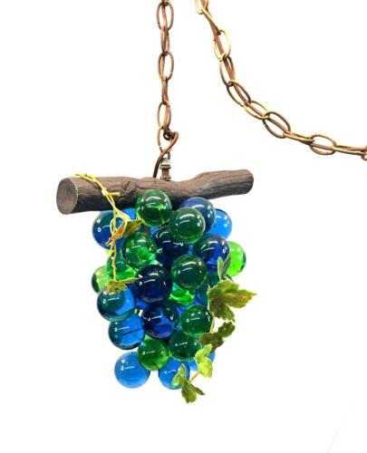 Vtg Mid-Century Modern Lucite Blue/Green Grape Cluster Hanging Swag Lamp Light