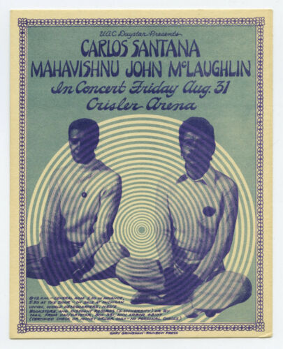 SANTANA Mahavishnu John McLaughlin Original 1973 Concert Handbill GARY GRIMSHAW
