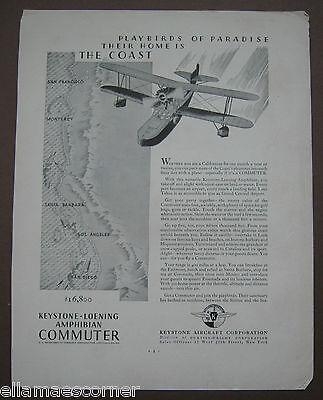 Vintage 1930 Keystone Aircraft Corporation Original Print Ad