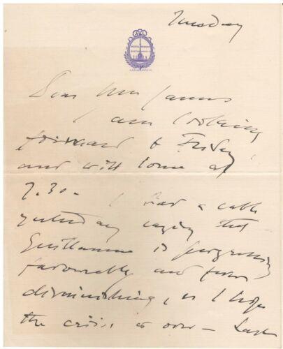 Handwritten Letter Signed by John Singer Sargent in 1916 w/ COA