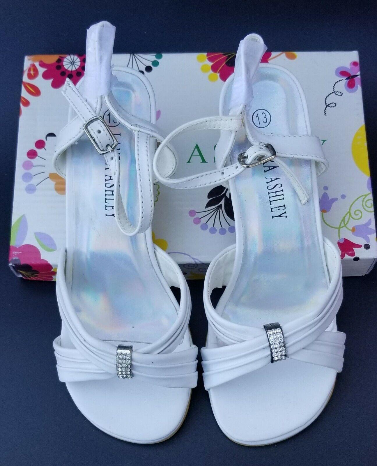 LAURA ASHLEY White Girls Dress Shoes Size 13 Rhinestone Form