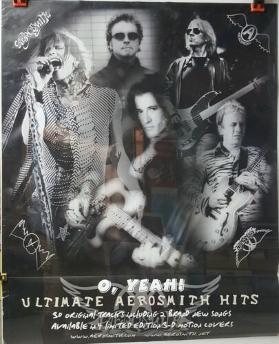 """AEROSMITH - """"O Yeah - Ultimate Hits"""" 2-Sided Promo Poster. 24x30  EX cond. 2002"""