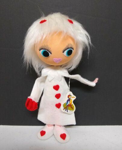 """Vintage Pixie Valentine Big Eyed mod Girl NEW NWT Doll EUC Felt Bendable 9"""" Tall"""