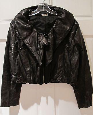 Seiko Taki Paris Leather Jacket Cropped Black Avant Garde Ruffled Sz L