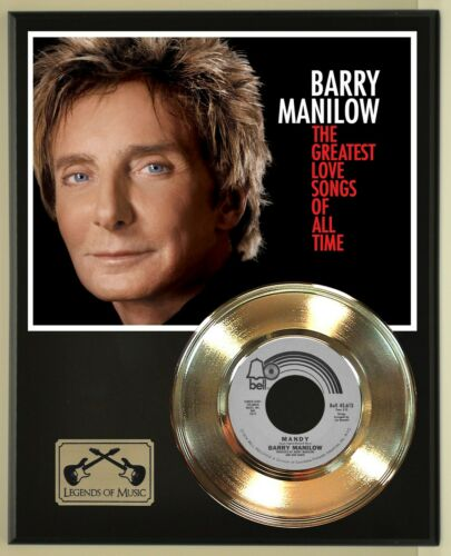 Barry Manilow 45 Gold Plated Record Display on an Open Air Wood Plaque. 02