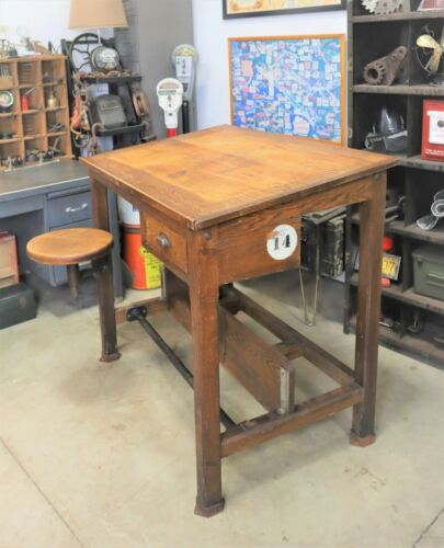 Antique Industrial Technical Drafting Table with Swing Out Stool