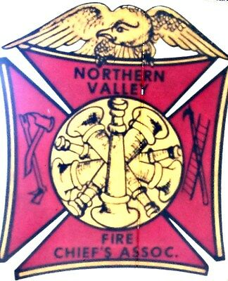VINTAGE NORTHERN VALLEY FIRE CHIEF'S ASSOC. WINDOW STICKER DECAL ~ NEW CONDITION