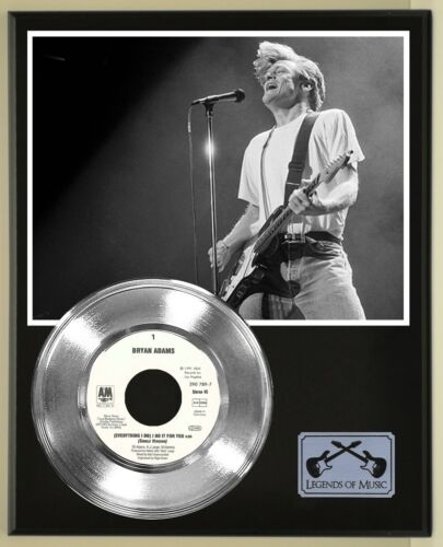 """Bryan Adams """"Everything I Do"""" Silver Record Display Wood Plaque"""