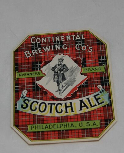 Vintage CONTINENTAL BREWING COMPANY, PA Scotch Ale Beer Label
