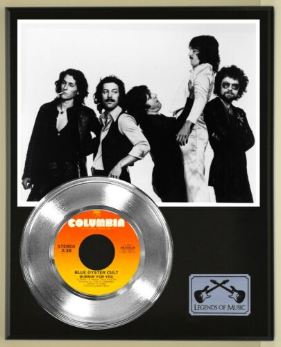 """Blue Oyster Cult """"Burning For You"""" Silver Record Display Wood Plaque"""