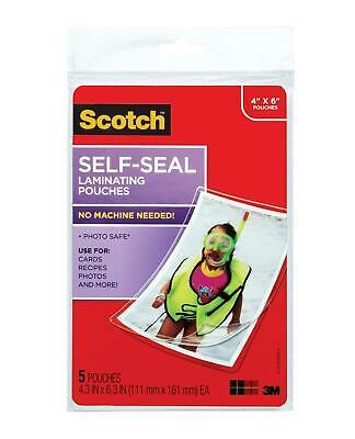 Scotch Self-sealing Laminating Pouches Glossy Finish 4 38 X 6 38 Inches 5